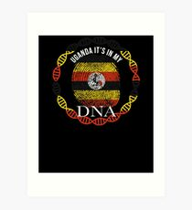 Uganda Its In My DNA - Uganda Ugandan Flag In Thumbprint Art Print