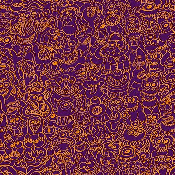 How to be scary and funny in a single monsters pattern design by Zoo-co