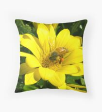 Bee Macro Throw Pillow