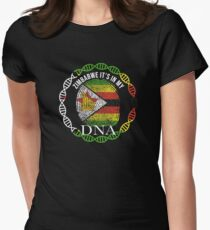 Zimbabwe Its In My DNA - Zimbabwe Zimbabwean Flag In Thumbprint Tailliertes T-Shirt für Frauen