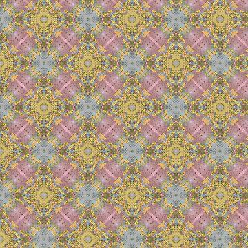 Pink, Yellow, Gray Kaleidoscope Pattern by jacoolda