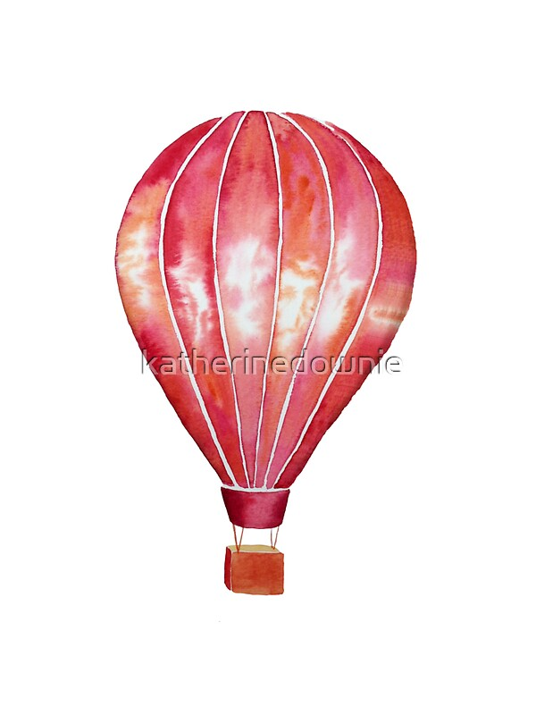 Red watercolor hot air balloon by katherinedownie