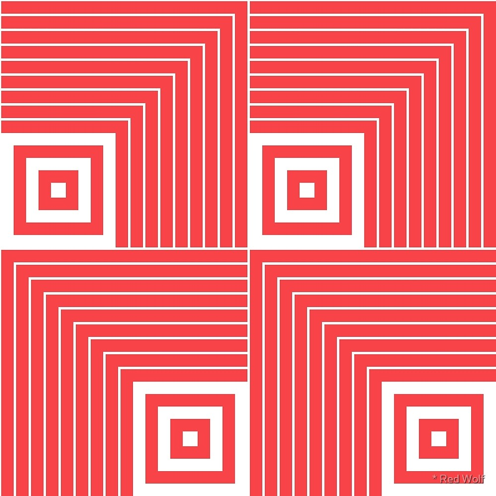 Geometric Pattern: Square Angle: Red by * Red Wolf