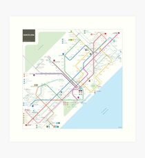 Barcelona metro map Art Print