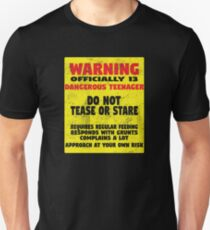 13th Birthday Funny Design - Warning Officially 13 Dangerous Teenager  Unisex T-Shirt