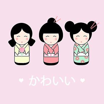Kokeshi Dolls Kawaii by valleone