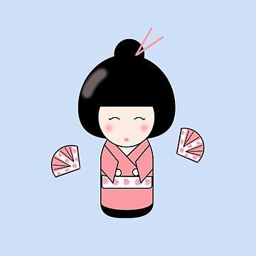Kawaii Kokeshi Doll by valleone