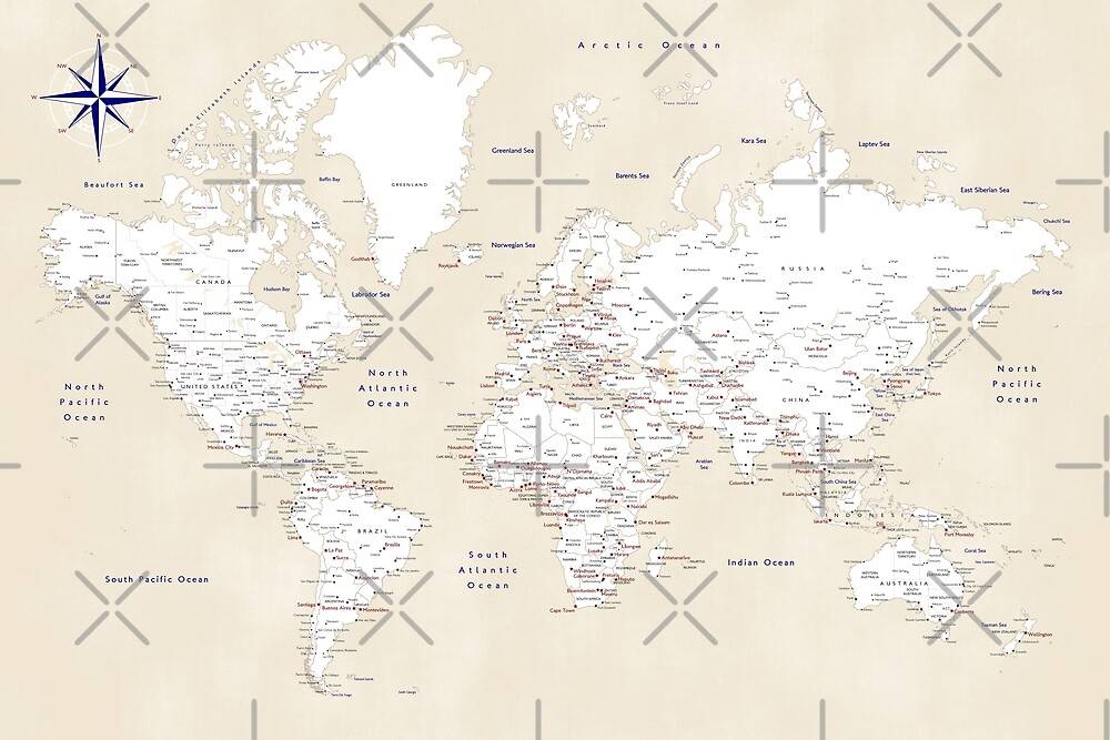 "Cream, white, red and navy blue world map, ""Deuce"" by blursbyai"