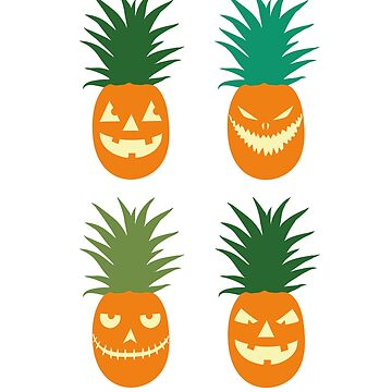 Carved Pineapples Hawaiian Halloween by DeLaFont