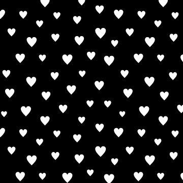 LOVELY WHITE HEARTS ON BLACK by SUBGIRL