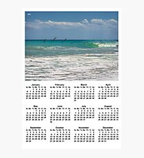 Pelicans over the ocean Poster Calendar 2019 Photographic Print