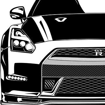 GTR R35 Godzilla (black and white) by monstta