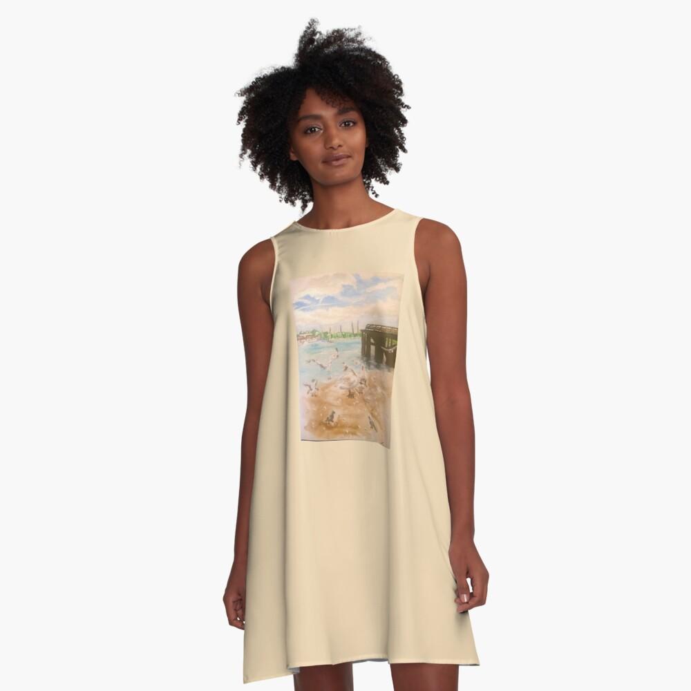 Schwäne A-Linien Kleid