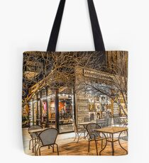Bend Oregon Old Mill Coffee Shop in the Snowy Night Tote Bag