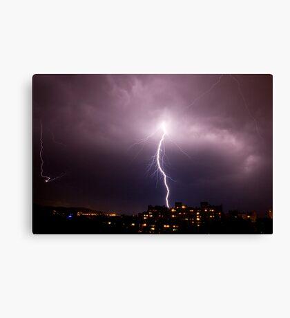 Lightning in Ljubljana, Slovenia Canvas Print