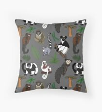 Lemur Pattern Throw Pillow