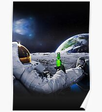 Astronaut on the Moon with space beer ⛔ HQ quality Poster