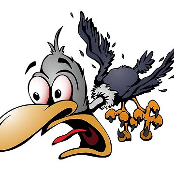 Crazy Cartoon Bird Vector Illustration by hobrath