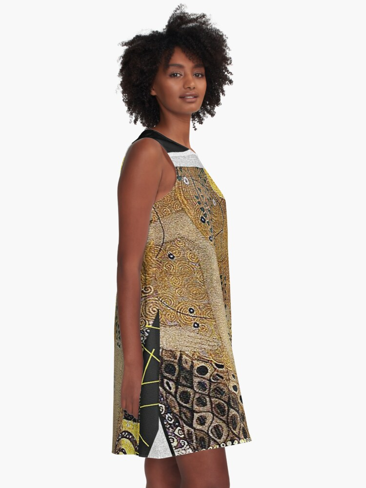 Alternate view of Portrait in Gold and Black ... by Gustav Klimt A-Line Dress