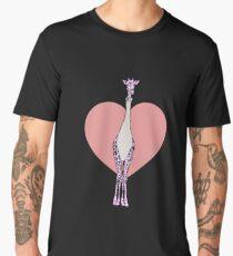Foil Fencing Giraffe Pink Heart Men's Premium T-Shirt