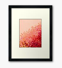 CREATION IN COLOR, CORAL PINK Pretty Girly Ombre Ocean Waves Sea Colorful Splash Abstract Acrylic Painting Framed Print
