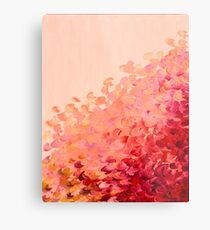 CREATION IN COLOR, CORAL PINK Pretty Girly Ombre Ocean Waves Sea Colorful Splash Abstract Acrylic Painting Metal Print