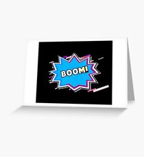The eruption comic Eighties Retro Violet and Purple Greeting Card
