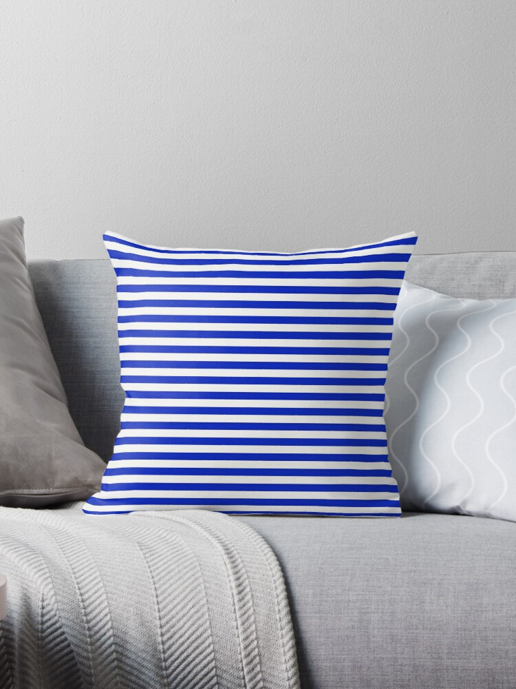 Cobalt Blue and White Thin Horizontal Deck Chair Stripe by podartist