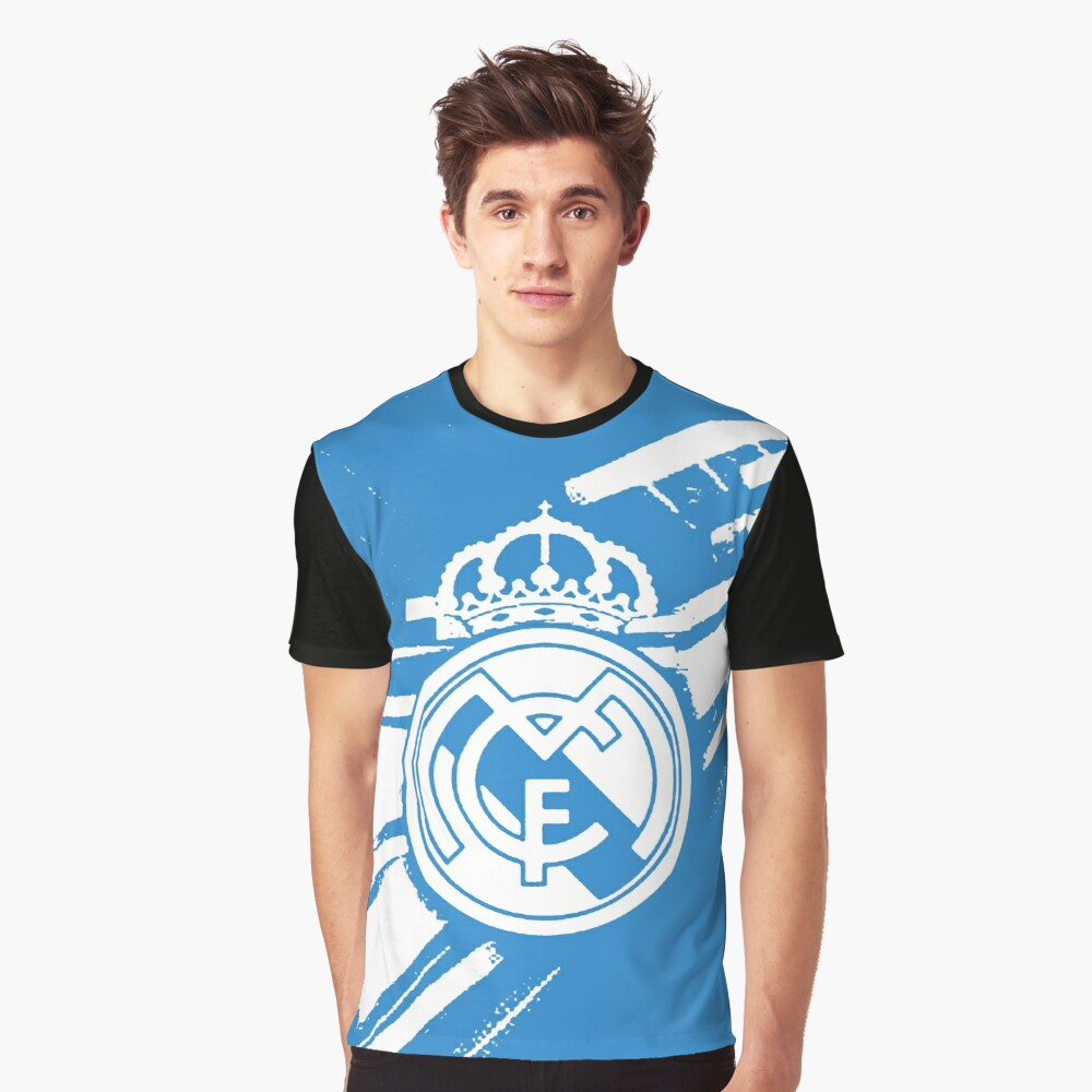 Real Madrid Blue Graphic T-Shirt Front