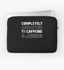 Addicted Caffiene Jesus Bible Verse Christian Laptop Sleeve