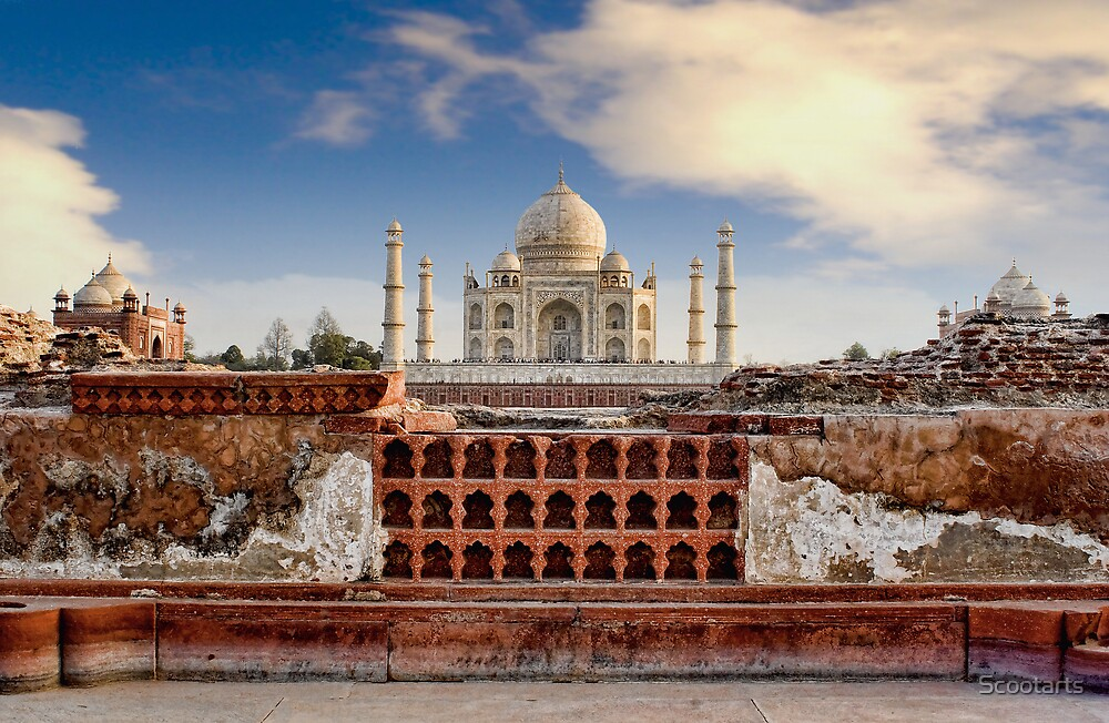 Taj Mahal (Monument of Love), Agra, India by Scootarts