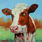 Colorful Cow Mini Painting by Margaret Stockdale