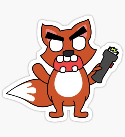 angry zombie taser fox Glossy Sticker