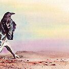 The Drifter - Raven on Driftwood on beach by Peter Williams