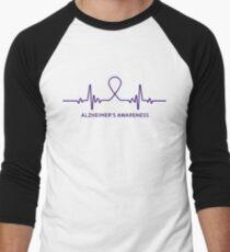 Alzheimer's Awareness Ribbon T-shirt Tee Gift Men's Baseball ¾ T-Shirt