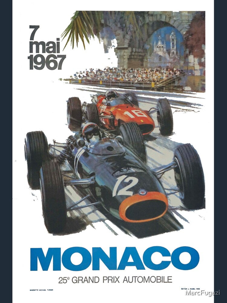 Retro Poster Großer Preis von Monaco 1967 von MarcFugazi