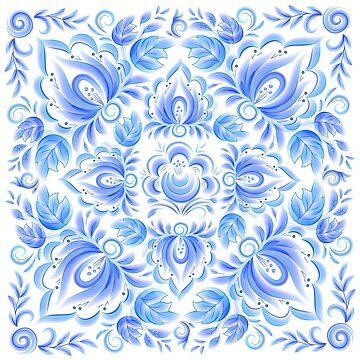 Blue watercolor ornament by 1enchik