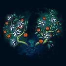 «Cráneo de gato y un árbol anaranjado» de Johanna-Draws