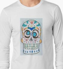 Wacky Watercolor Sugar Skull  Long Sleeve T-Shirt