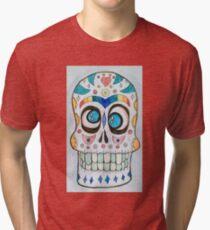 Wacky Watercolor Sugar Skull  Tri-blend T-Shirt