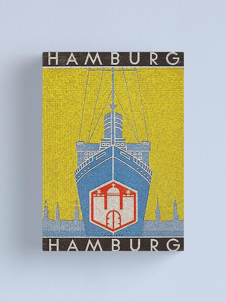 Alternate view of Vintage Hamburg Travel Poster, 1955 Canvas Print