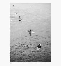 Pier Surfer - Black & White Photography Print Photographic Print