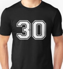 White Number 30 Unisex T-Shirt
