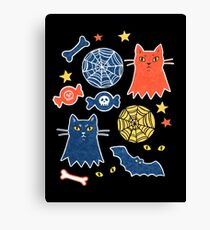 Halloween pattern with cats, paper collage Canvas Print