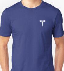 Tesla Logo White With Blue Background Unisex T-Shirt