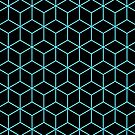3-D Cube Effect Pattern (Aqua on Black) by Lyle Hatch