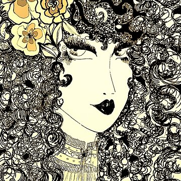 70S DECO POSTER DOLLY GIRL CURLY HAIR , ART POSTER by jacquline8689