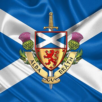 Scotland Forever - Alba Gu Brath - Symbols of Scotland over Flag of Scotland by Captain7