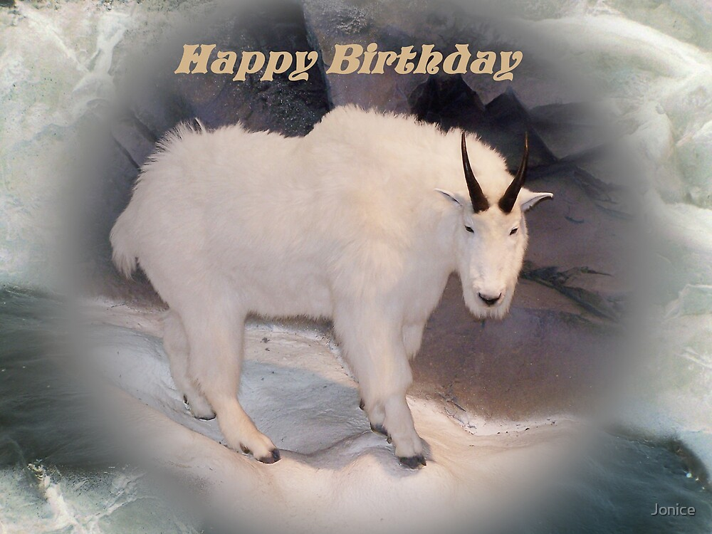 Mountain Goat Happy Birthday Card by Jonice – Goat Birthday Card