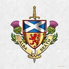 Scotland Forever - Alba Gu Brath - Symbols of Scotland over White Leather by Serge Averbukh